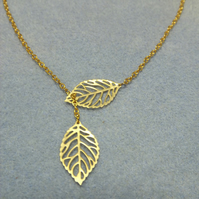 Two Leaf Gold Plated Charm Necklace (3)