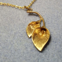 Double Calla Lily Charm Necklace in 14K Matt Gold Plate (18)