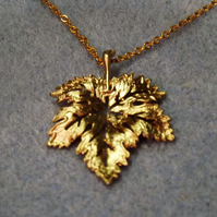 Filigree Maple Leaf Charm Necklace in 14k Matt Gold Plate (Style NP28)