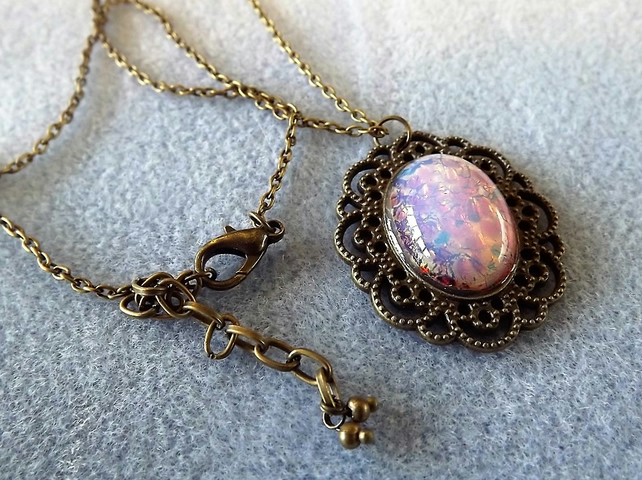 Pink Opal Glass Cabochon Pendant in Brass Cameo Lacey Small Setting (style 11)