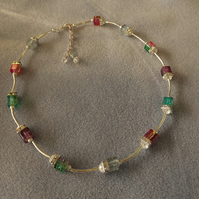 Crackle Cube Rainbow Beaded Necklace with Silver Plate tube and Diamante Squares