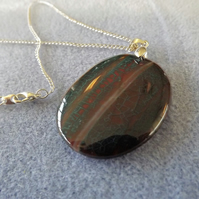 Green and Orange Cracked Stripped Agate Pendant (50)