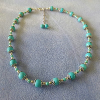 Turquoise Blue Howlite Silver Plated Beaded Necklace