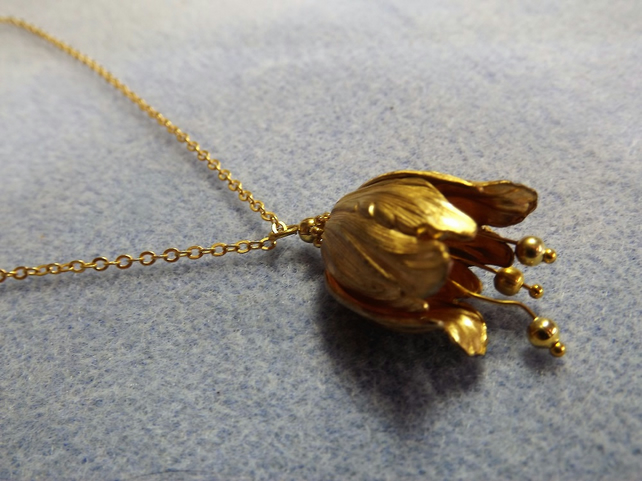 Tulip Charm Necklace in 14K Matt Gold Plate (Style NP)