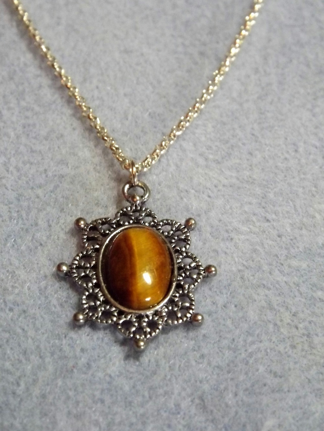 Tiger's Eye Antique Silver Plated Cabochon Necklace (Style 8)