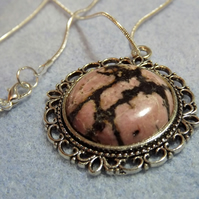 Pink Rhodonite Cabochon Necklace (Style 36)