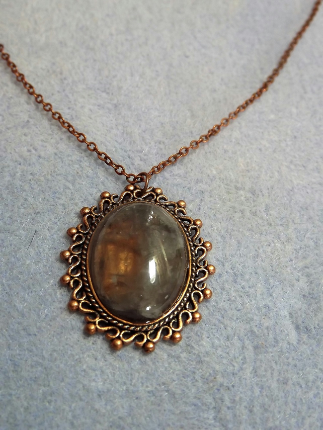 Grey Crystal Filigree Copper Cabochon Necklace (Style 29)