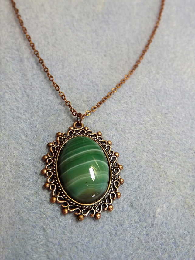 Green Jasper in Filigree Copper Cabochon Necklace (style 30)