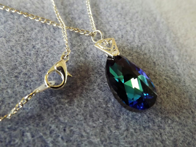 Swarovski Blue (Bermuda) 22mm Almond Shaped Crystal Pendant (Style 12)