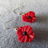 Red Poppy Polymer Clay Beaded Drop Earrings.