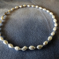 Cultured pearl with Clear Crystals beads Beaded Necklace