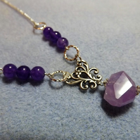 Amethyst Nugget Purple Silver Plated Necklace