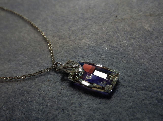 Swarovski Rectangle Pendant Crystal AB (style 22)