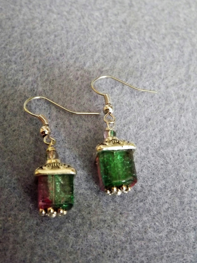 Pink and Green Watermelon Crackle Cube Beaded Dangle Drop Earrings. Silver Plate