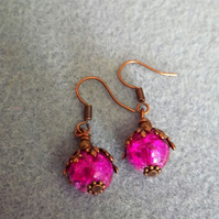 Cerise Pink and Lilac Beaded Drop Earrings with Red Copper Leaf Design