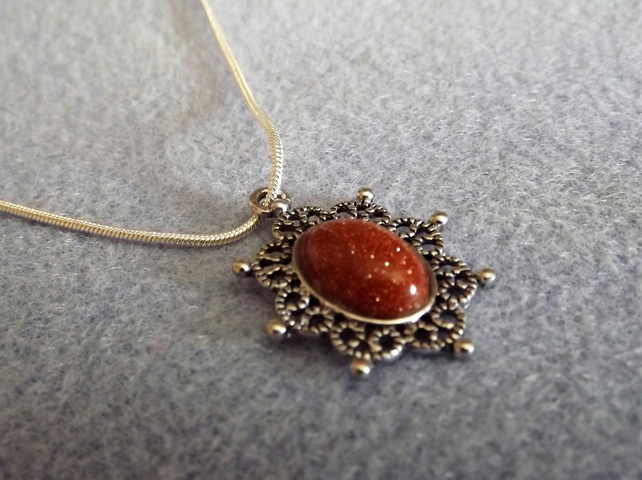 Goldstone and Antiques Silver Plate Cabochon Necklace (Style NP)