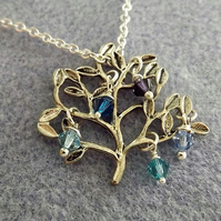 Tree of Life with Swarovski Crystals in Silver Plate Charm Necklace (Style 14)