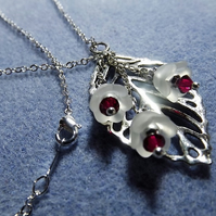 Silver Leaf and White Flower Bud Charm Necklace (Style 1)