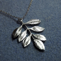 Ash Leaf Charm Necklace in Silver Plate (Style 26)