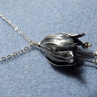 Tulip Charm Necklace in Antiqued Silver Plate (Style 22 NP)