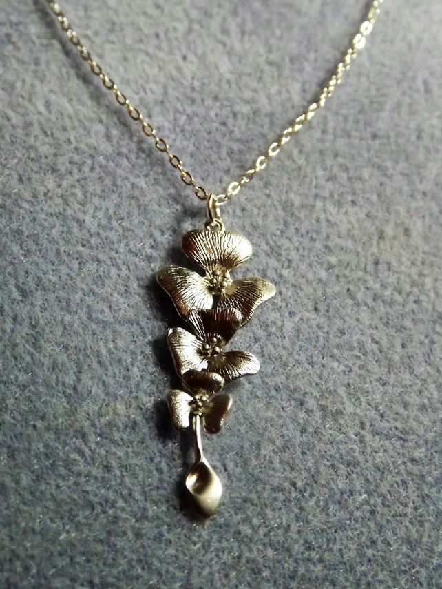 Cascading Orchid Silver Plate Charm Necklace (Style 34 NP)