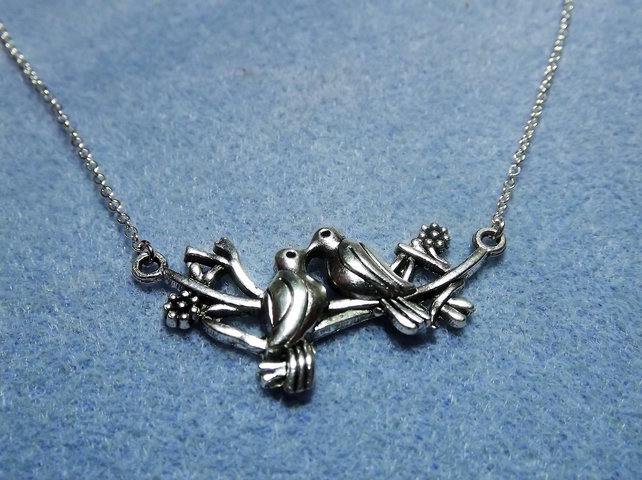 Kissing Doves Silver Plated Charm Necklace (Style 35 NP)