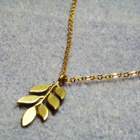 Ash Leaf Necklace.  Small Gold Plated Ash Leaf Charm Necklace (Style 23 NP)