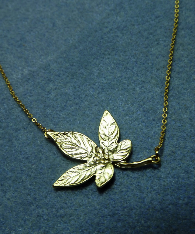 Large Ivy Leaf Necklace in 14K Matt Gold Plate (Style 24 NP)