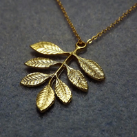 Ash Leaf Charm Necklace in 14k Matt Gold Plate (Style 25 NP)