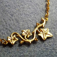 Ivy Vine Charm Necklace in 14K Matt Gold Plate (Style 10)