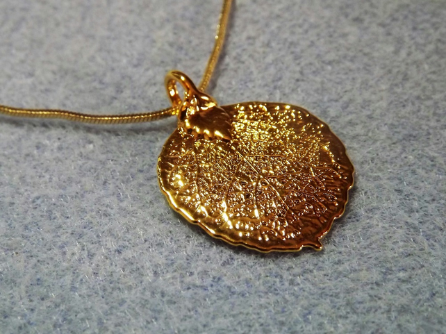 Leaf Jewellery Gold Dipped Aspen Leaf Pendant