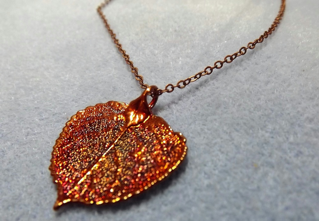 Leaf Jewellery Copper  Dipped Aspen Leaf Pendant