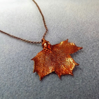 Leaf Jewellery Copper Dipped Maple Leaf Pendant small