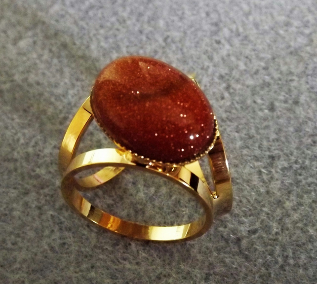 Golstone Scarf Jewellery.  Gold Plate.  Scarf Ring.  Goldstone Scarf Accessory