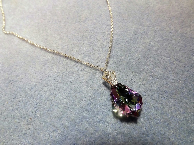 Swarovski Light Purple (Vitrail Light) 22mm Baroque Crystal Pendant  (style 14)