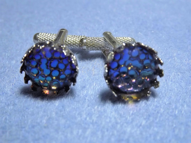 Dragon Scales Metallic Blue, Green and Purple Round Silver Plated Cufflinks