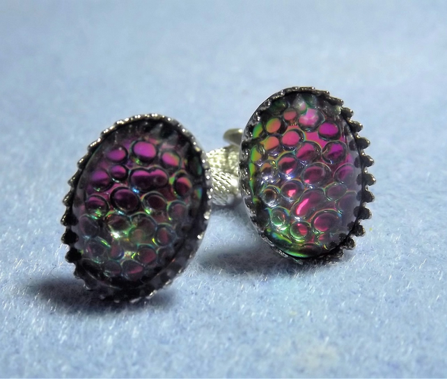 Dragon Scales Metallic Green and Pink Oval Silver Plated Cufflinks