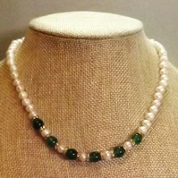 Cultured Pearl and Jade Beaded Necklace