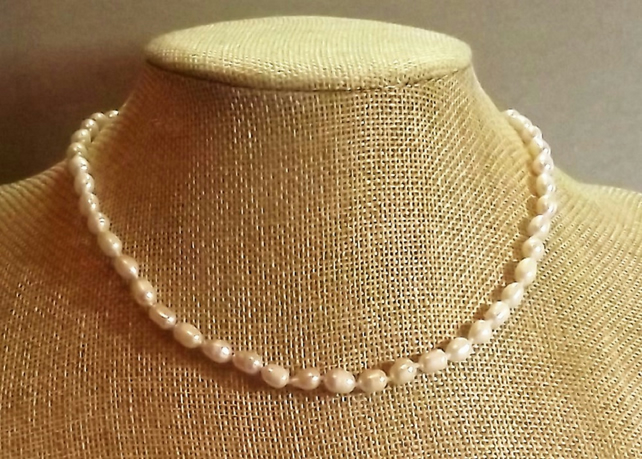 Knotted Pearl Necklace with Gold Plated Filigree Clasp