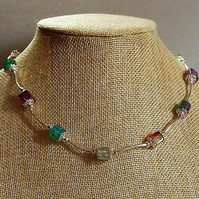 Crackle Cube Rainbow Beaded Necklace with Silver Plate tubes.