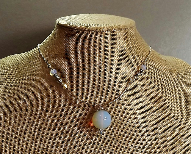 "18"" Opalite Ball and Swarovski Crystal Necklace.  18"" Length Necklace."