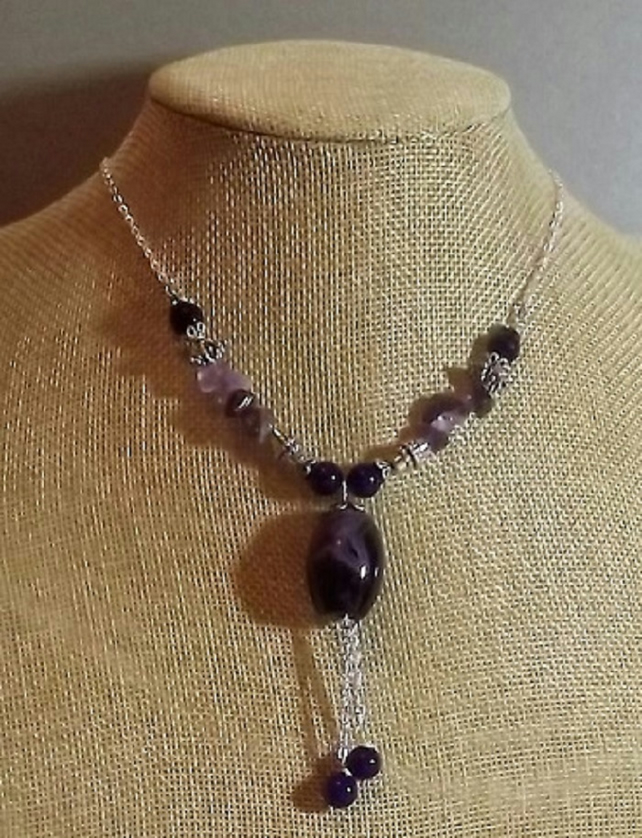 Amethyst and Agate Purple Tassel Beaded Necklace