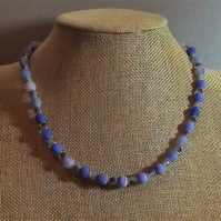 Blue Dragons Vein Agate and Crystal Beaded Necklace
