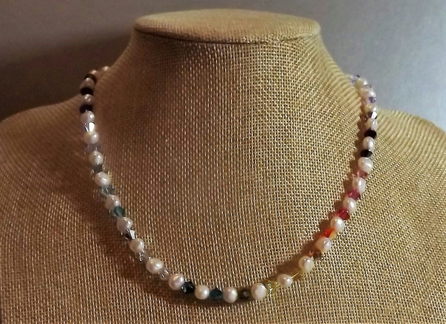 White Pearl and Rainbow Swarovski Crystal Beaded Necklace