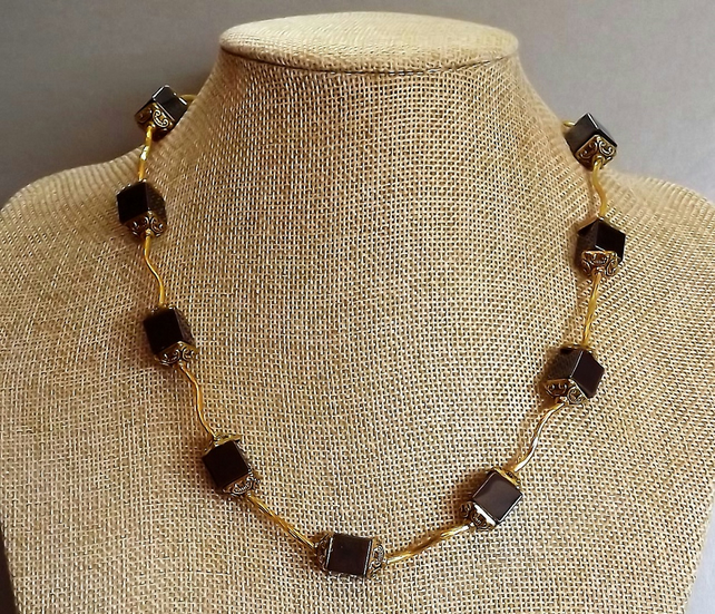 "Hematite and Gold plated Cube Necklace. 18"" Length"