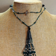 Lariat Tassel Necklace in Teal Green
