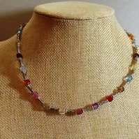 Colourful Cube Rainbow Necklace with Smaller Beads