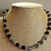 Black Crackle Bead and Crystal Silver Plated Beaded Necklace