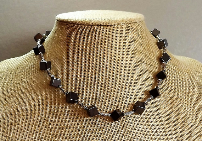 Haematite Cube Beaded Necklace 18""