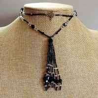 Lariat Style Tassel Necklace in Petrol Shades